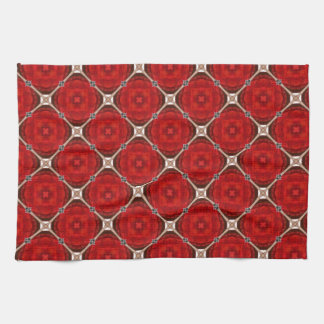 Red and White Floral Trellis Kitchen Towel