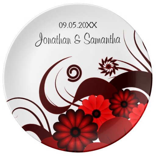 Red and White Floral Wedding 10.75 Ceramic Plates