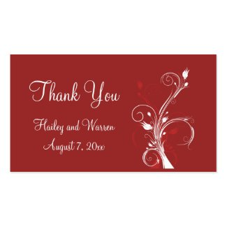 Red and White Floral Wedding Favor Tag profilecard