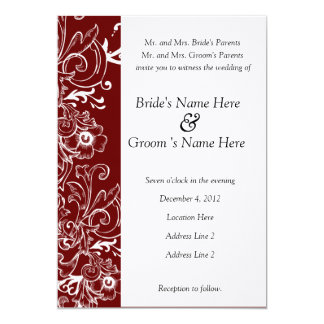Red and White Floral Wedding Invitation