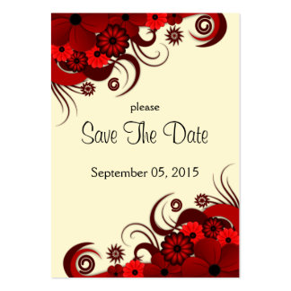 Red and White Floral Wedding Save The Date Cards Large Business Card
