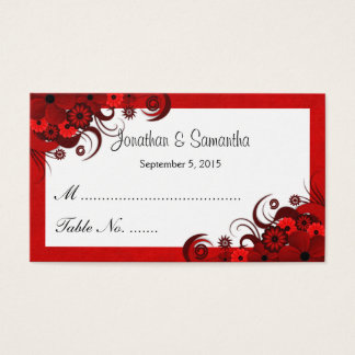 Red and White Floral Wedding Table Place Cards