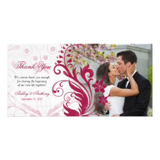 Red and White Floral Wedding Thank You Photocard Card