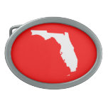 Red and White Florida Oval Belt Buckle