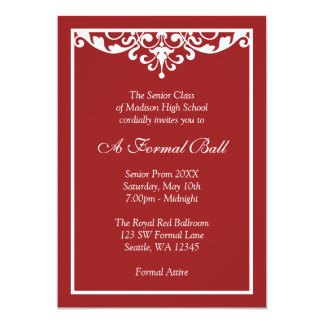Red and White Flourish Formal Prom Dance Ball Personalized Invitations