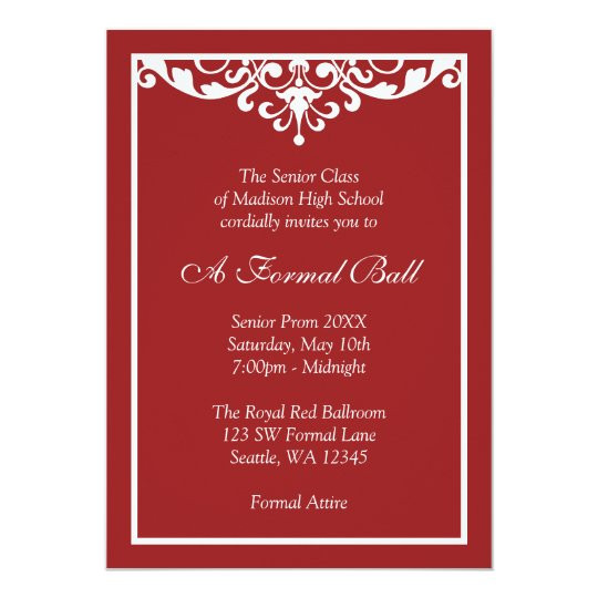 Red And White Flourish Formal Prom Dance Ball Invitation Zazzle Com