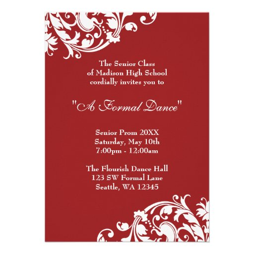 Personalized high school formal invitations custominvitations4u red and white flourish prom formal invitation stopboris Image collections