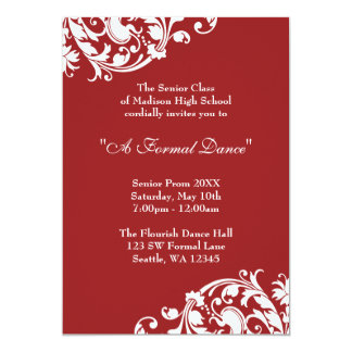 "Red and White Flourish Prom Formal Invitation 5"" X 7"" Invitation Card"