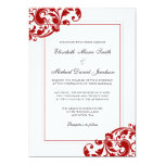 Red and White Flourish Swirls Wedding 5x7 Paper Invitation Card