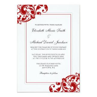 Red and White Flourish Swirls Wedding Card