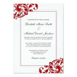 Superb Red And White Flourish Swirls Wedding Card