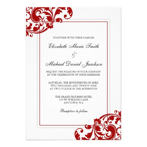 Free Red And White Wedding Invitation Templates : Red and White Flourish Swirls Wedding 5x7 Paper Invitation Card ...