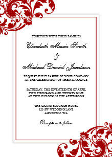 Red And White Wedding Invitations | Red And White Wedding Invitations Zazzle