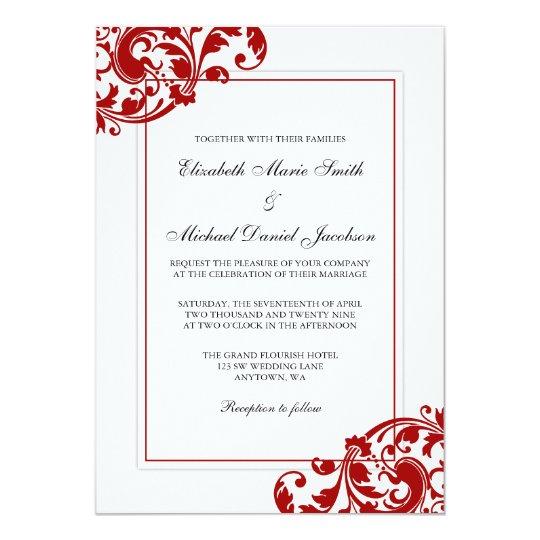 Red and White Flourish Swirls Wedding Invitation | Zazzle.com Red And White Wedding Invitations Templates