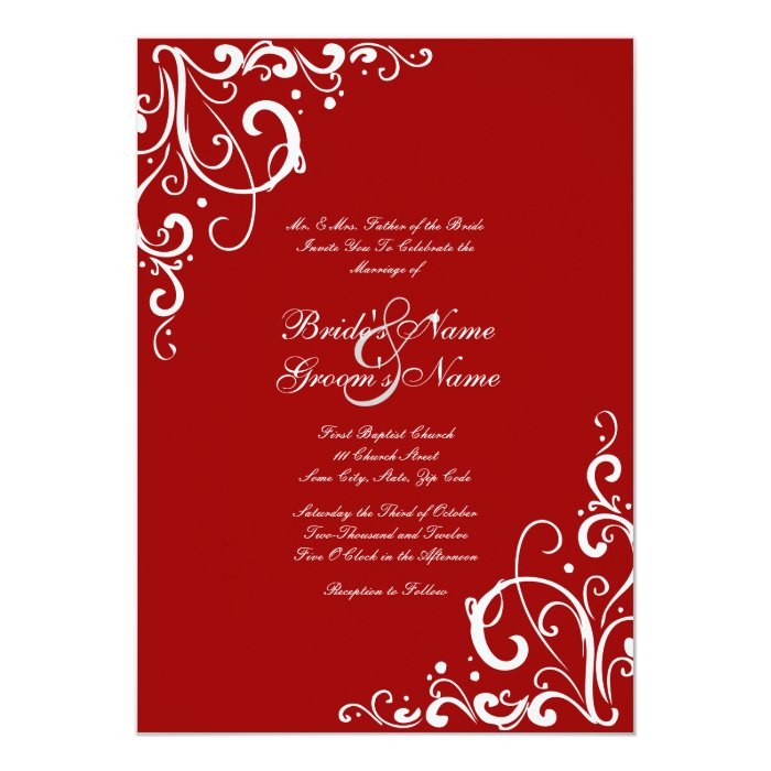 Red And White Flourish Wedding Invitation