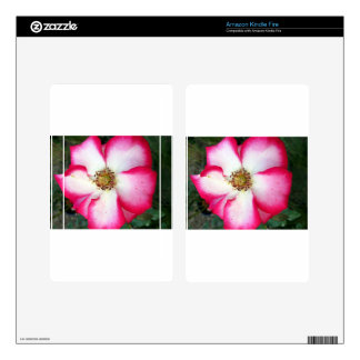 Red and white flower closeup kindle fire skins