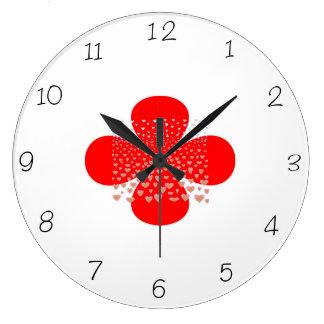 Red and White> Flower Kitchen Clocks