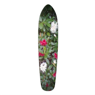 red and white flower skate board deck