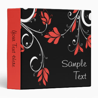 Red and White Flowers 3 Ring Binder