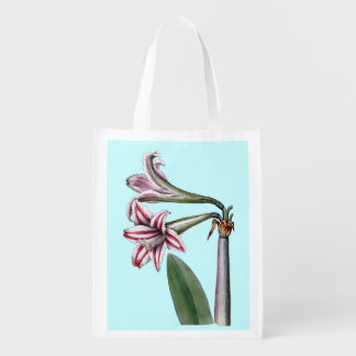 RED AND WHITE FLOWERS (AMARYLLIS) Reusable Bag Market Totes