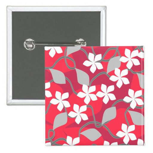 Red and White Flowers. Floral Pattern. Button