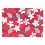 Red and White Flowers. Floral Pattern. Greeting Card