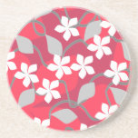 Red and White Flowers. Floral Pattern. Coaster