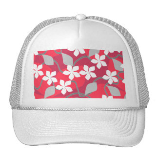 Red and White Flowers. Floral Pattern. Trucker Hat