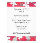 Red and White Flowers. Floral Pattern. Custom Invite