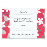 Red and White Flowers. Floral Pattern. 3.5x5 Paper Invitation Card