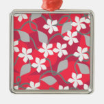 Red and White Flowers. Floral Pattern. Christmas Ornament
