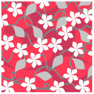 Red and White Flowers. Floral Pattern. Photo Sculptures