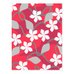Red and White Flowers. Floral Pattern. Postcard