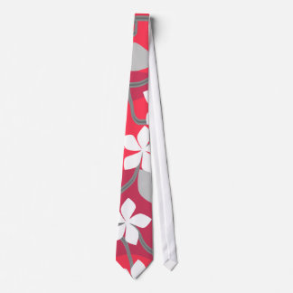 Red and White Flowers. Floral Pattern. Tie