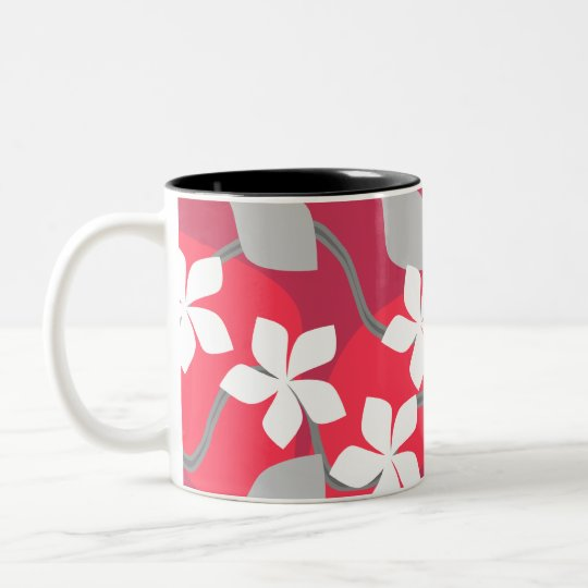 Red and White Flowers. Floral Pattern. Two-Tone Coffee Mug