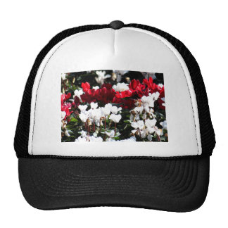 Red And White Flowers Trucker Hats