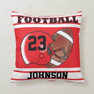 Red and White Football   DIY Name & Number Throw Pillow