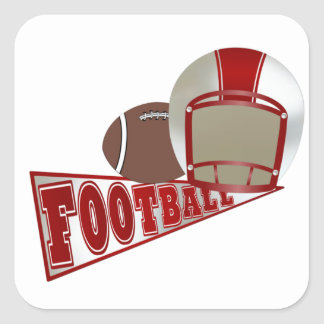Red and White Football Helmet and Pennant Square Sticker