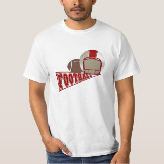 Red and White Football Helmet and Pennant T-Shirt