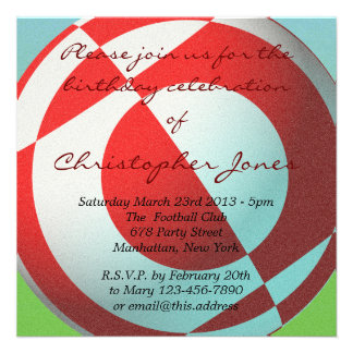 Red and White Football Invite Custom Announcements