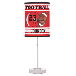Red and White Football Jersey Sport Table Lamp