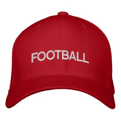 Red and White football logo cap Embroidered Hats