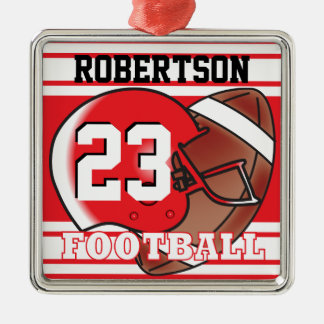 Red and White Football Metal Ornament