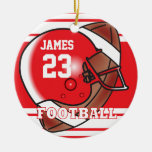 Red and White Football Ornament