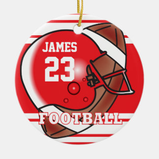 Red and White Football Double-Sided Ceramic Round Christmas Ornament