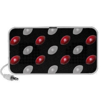 Red and White Footballs Pattern Laptop Speakers