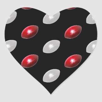 Red and White Footballs Pattern Heart Sticker