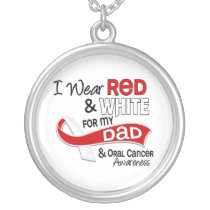 Red And White For Dad Oral Cancer Silver Plated Necklace