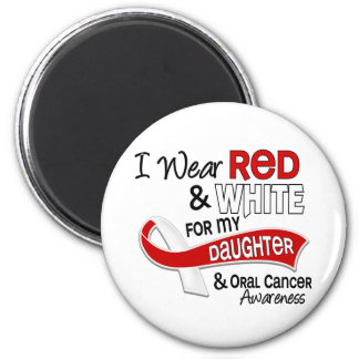 Red And White For Daughter 42 Oral Cancer 2 Inch Round Magnet