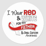 Red And White For Father 42 Oral Cancer Round Stickers
